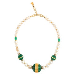 Vintage Lanvin Faux Pearl Emerald Green Gripoix Glass Necklace