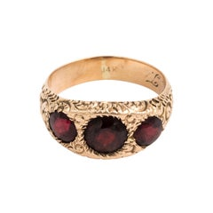 Victorian 14 Karat Garnet Three Three Stone Gypsy Set Ring 3/4 Carved Gold