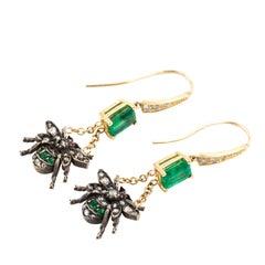 Emerald Fly Earrings