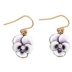 Purple Pansy Earrings