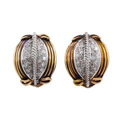 Diamond Clip Earrings, circa 1940s