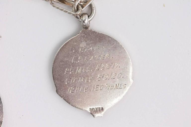 Late Victorian Sterling Medal Necklace For Sale