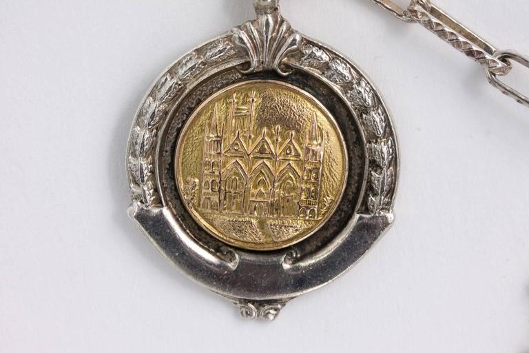 Women's or Men's Sterling Medal Necklace For Sale