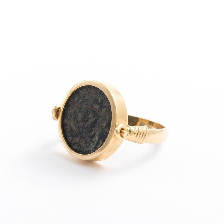 23f5f53cd311c Late Victorian Roman Coin Ring Set in 18 Karat Gold