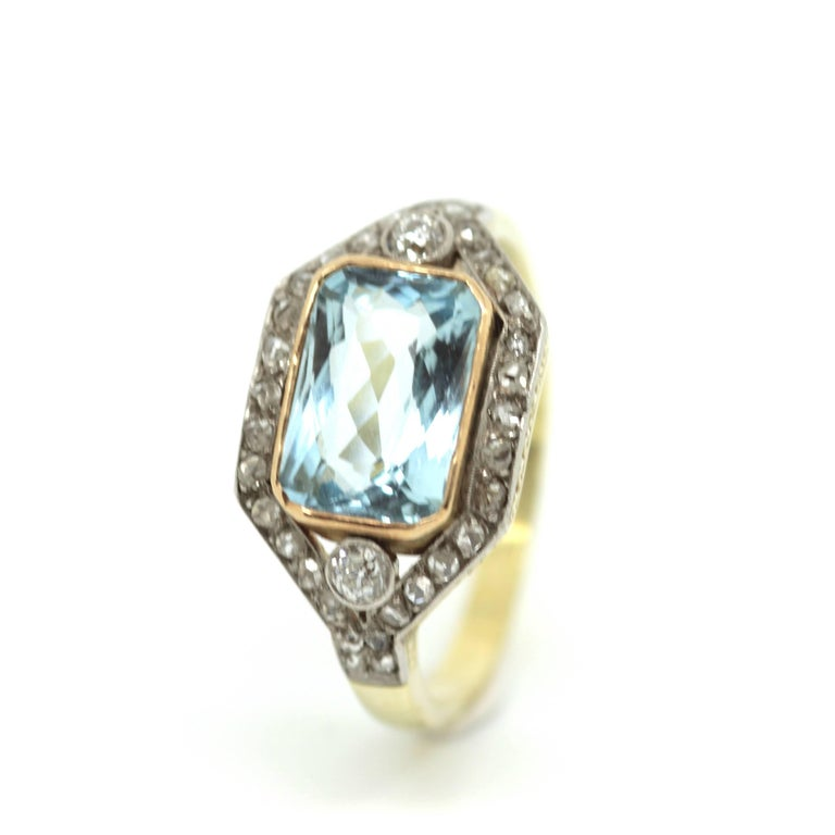 1920's Art Deco Aquamarine and Diamond Ring For Sale at ...