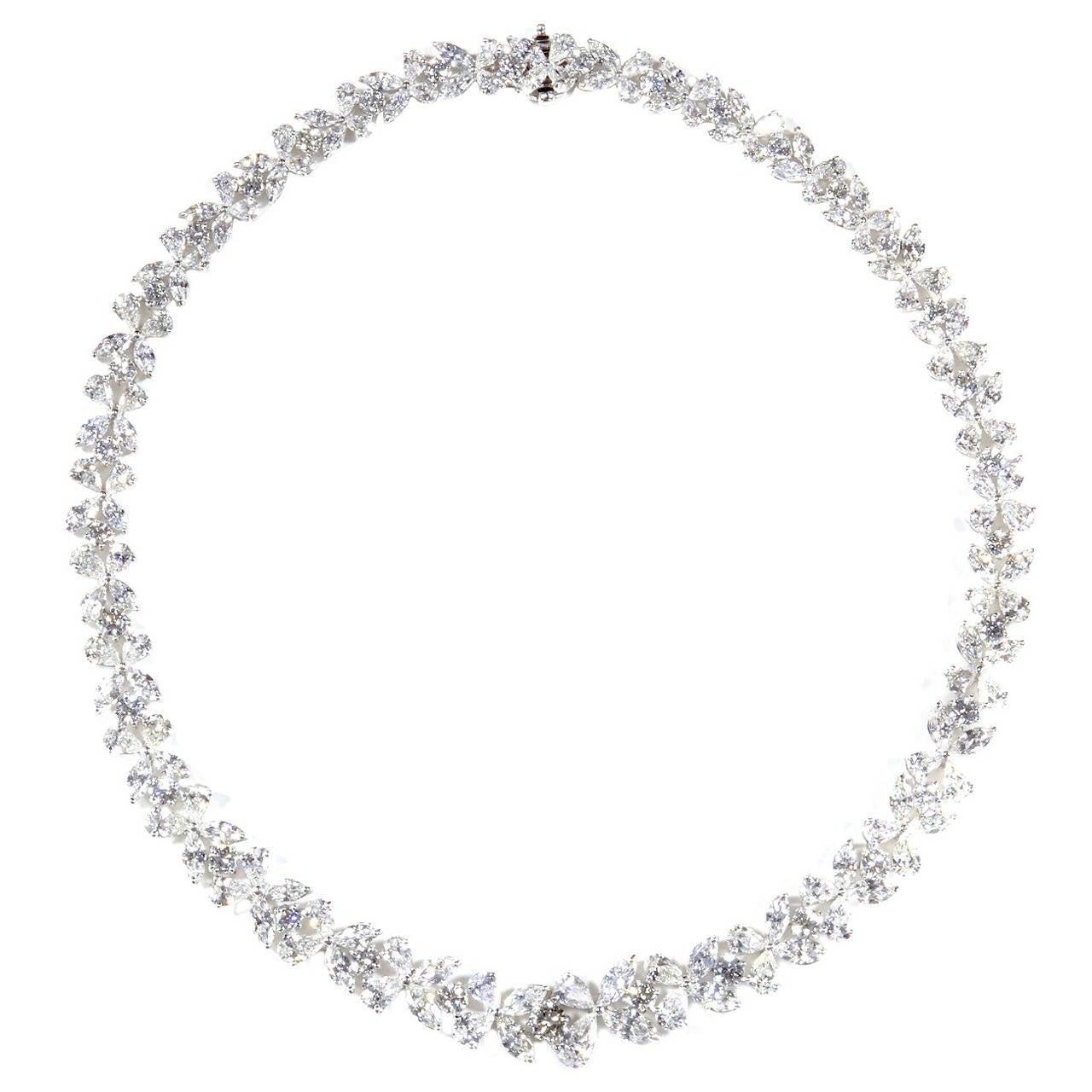 Classic Diamond Platinum Wreath Necklace