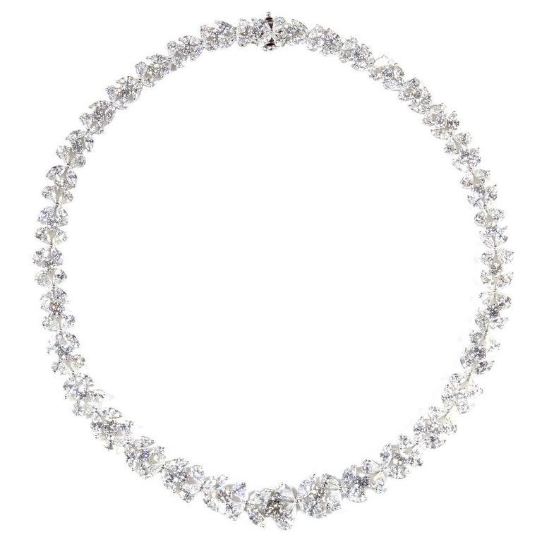 Classic Diamond Platinum Wreath Necklace For Sale