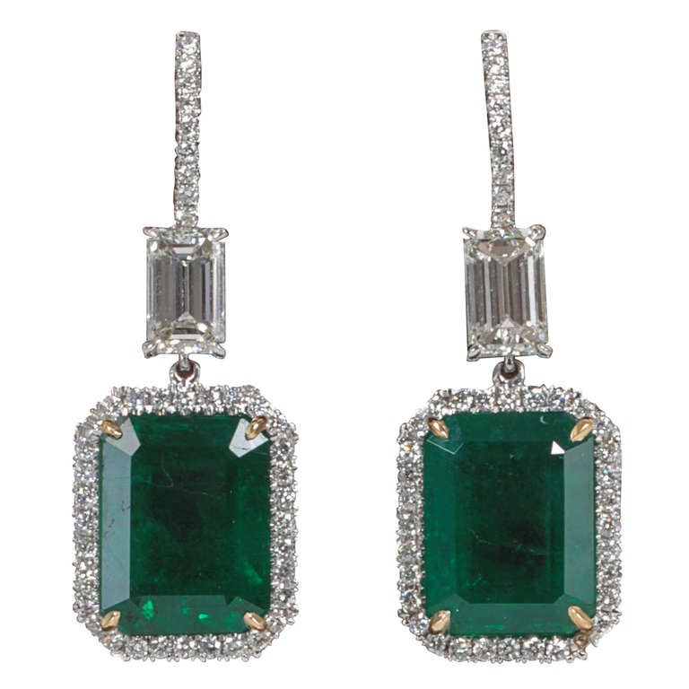 Fine Emerald and Diamond Drop Earrings