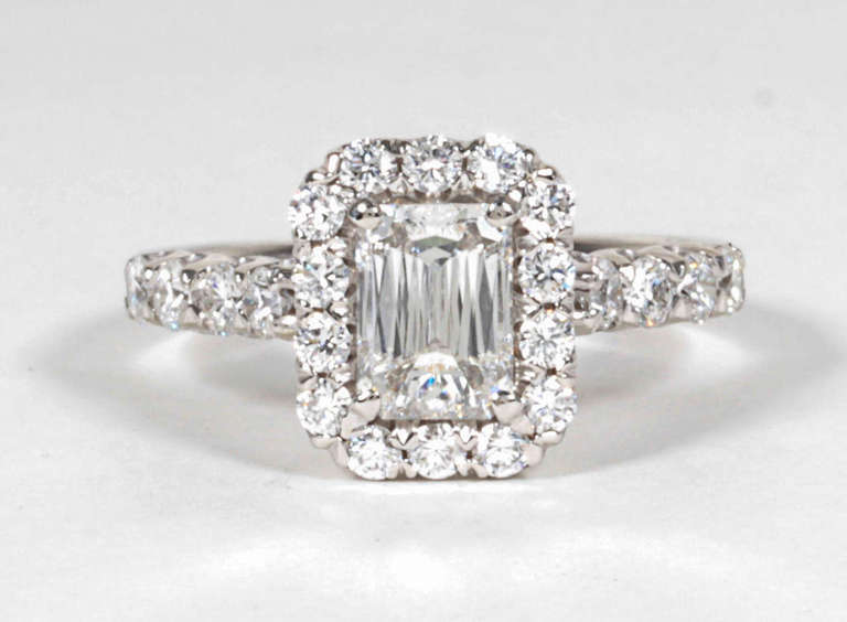Unique GIA Christopher Designs Criss Cut Emerald Cut Engagement Ring at 1stdibs