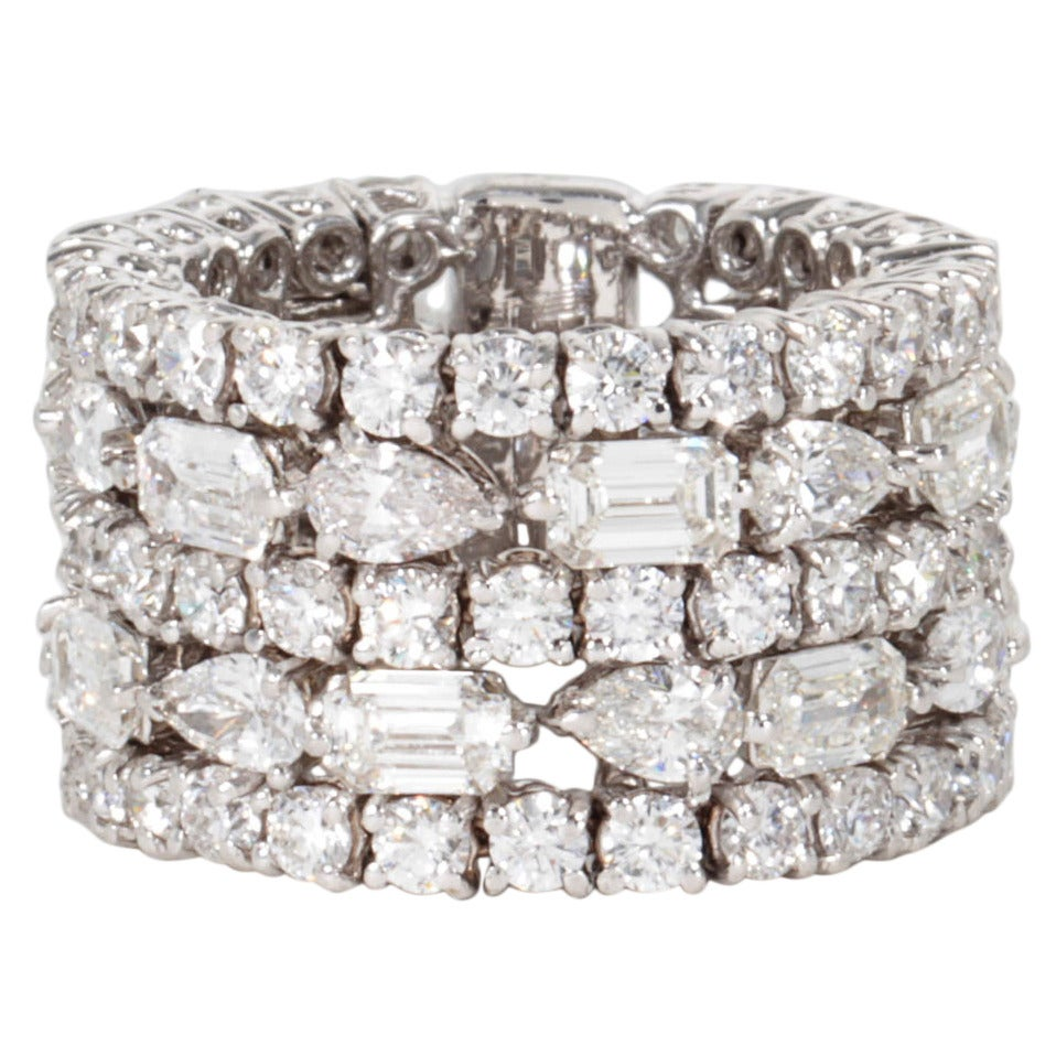 unique multi shape wide band ring for sale at 1stdibs