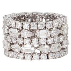 Unique Multi-shape Wide Diamond Band ring