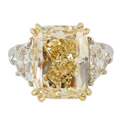10 Carat GIA Fancy Yellow Cushion Cut Diamond Gold Platinum Engagement Ring