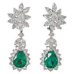 Elegant Green Emerald Diamond Platinum Cluster Drop Earrings