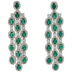 Emerald Diamond Gold Chandelier Earrings