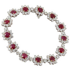 Burma Ruby Diamond 18 Karat White Gold Bracelet