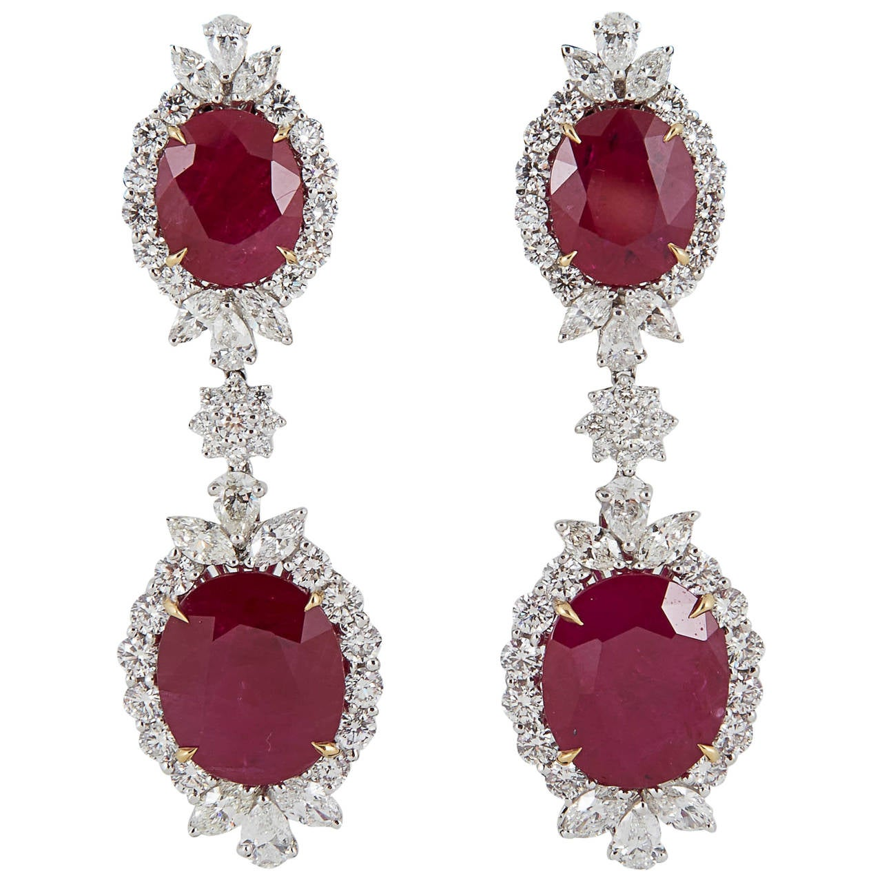 Burma Ruby Diamond Platinum Drop Earrings