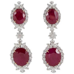 Ruby Diamond Platinum Drop Earrings