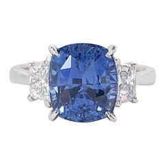 GIA Certified 8.04 Carat Cushion Cut Blue Sapphire Diamond Gold Ring