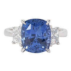 GIA Certified 8.04 Carat Cushion Cut Blue Sapphire Diamond Gold Ring