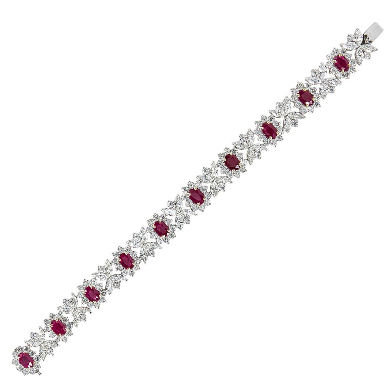 Fine Burma Ruby Diamond Bracelet For Sale