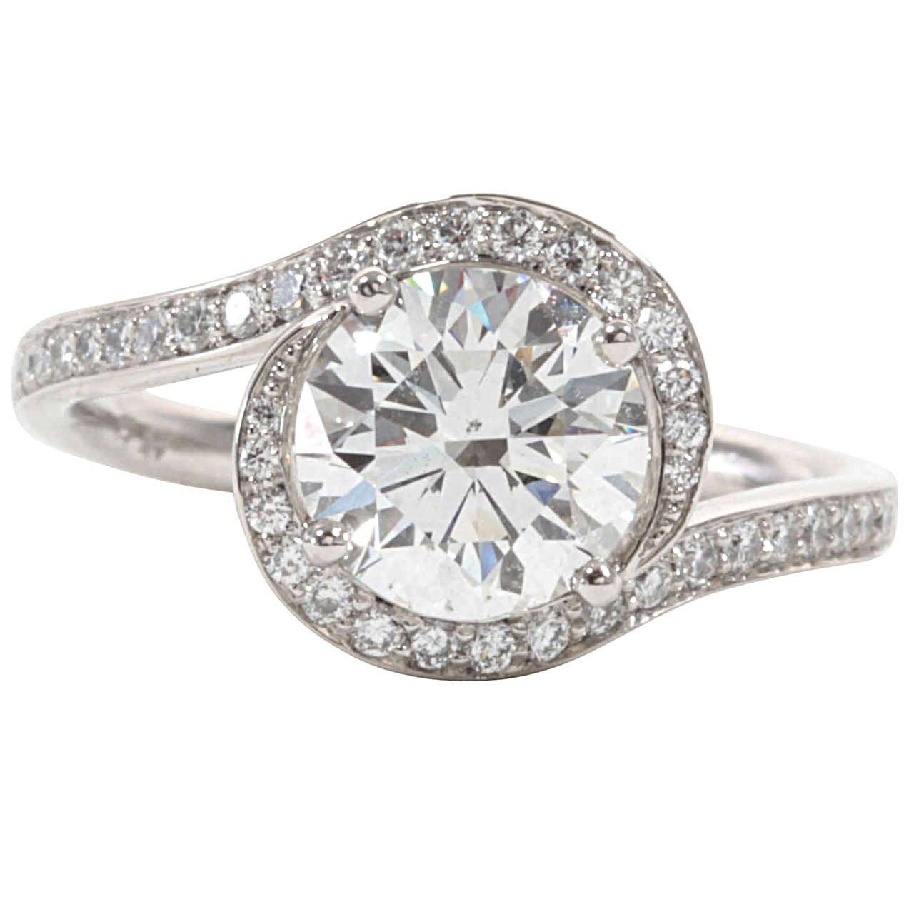 unique swirl platinum engagement ring for sale at