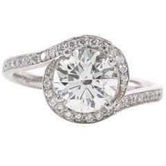 Unique Diamond Swirl Platinum Engagement Ring
