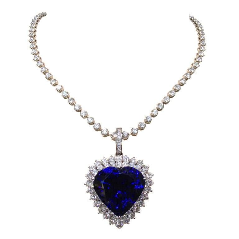 Heart Shaped Tanzanite Diamond Pendant on Diamond Chain