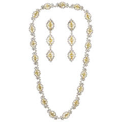 Multishape Yellow and White Diamond Necklace and Earrings Set