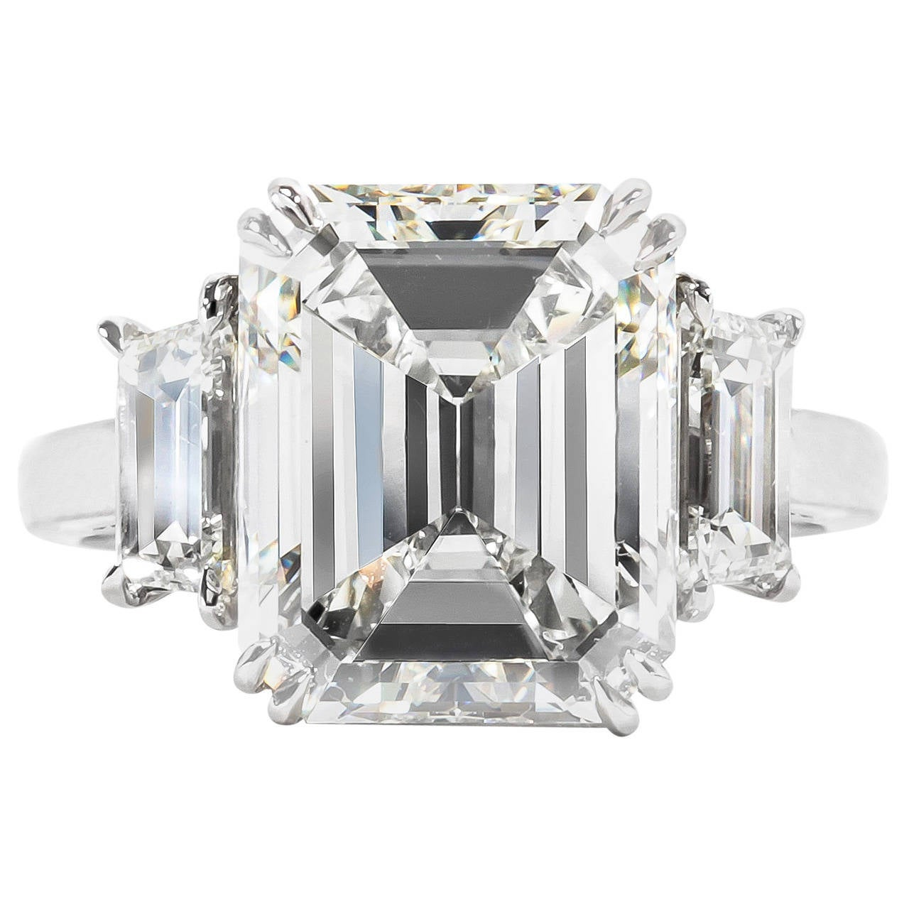Incredible 7 Carat Gia Certified Emerald Cut Diamond Platinum Ring For Sale