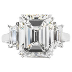 Incredible 7 Carat GIA Cert Emerald Cut Diamond Platinum Ring