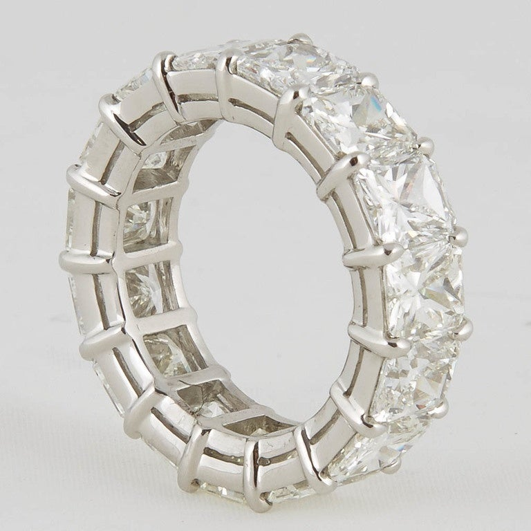 Radiant Cut Diamond Eternity Band Ring For Sale 2