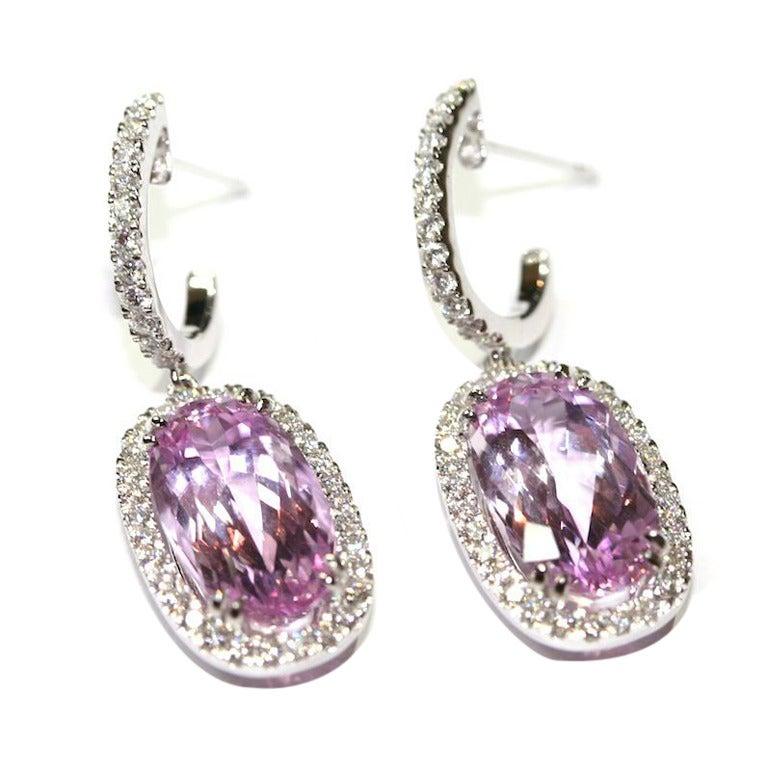 Pink Topaz Diamond Gold Earrings with certificat