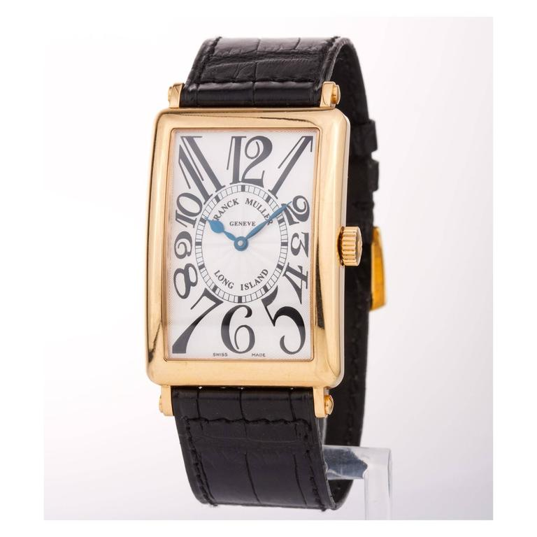 FRANCK MULLER LONG ISLAND, Master of complications 1000 SC yellow gold case , leather strap black crocodile , automatic winding