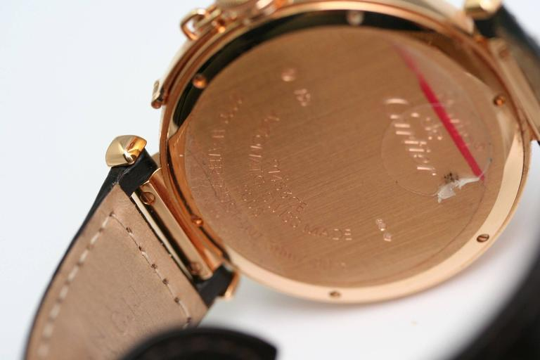 CARTIER Pasha, large automatic model shows pink gold folding clasp pink gold, leather bracelet,