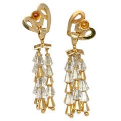 1940-1950 Earrings Yellow Gold Rock Crystal Citrine