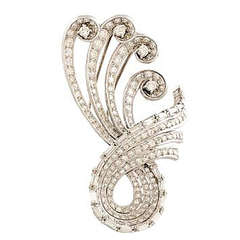 Swirl Brooch Platinum Diamonds