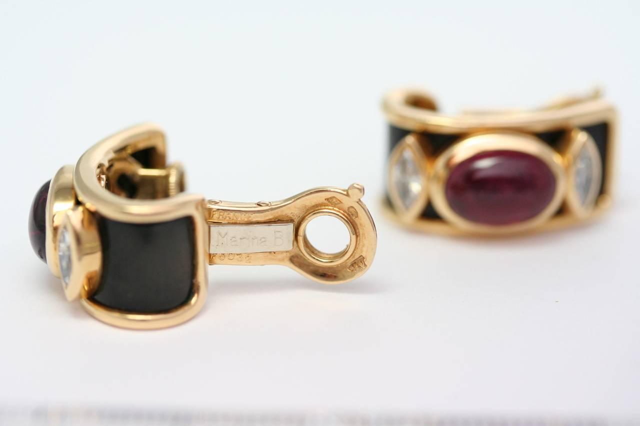 Marina B. Tourmaline Onyx Gold Ear Clips 2