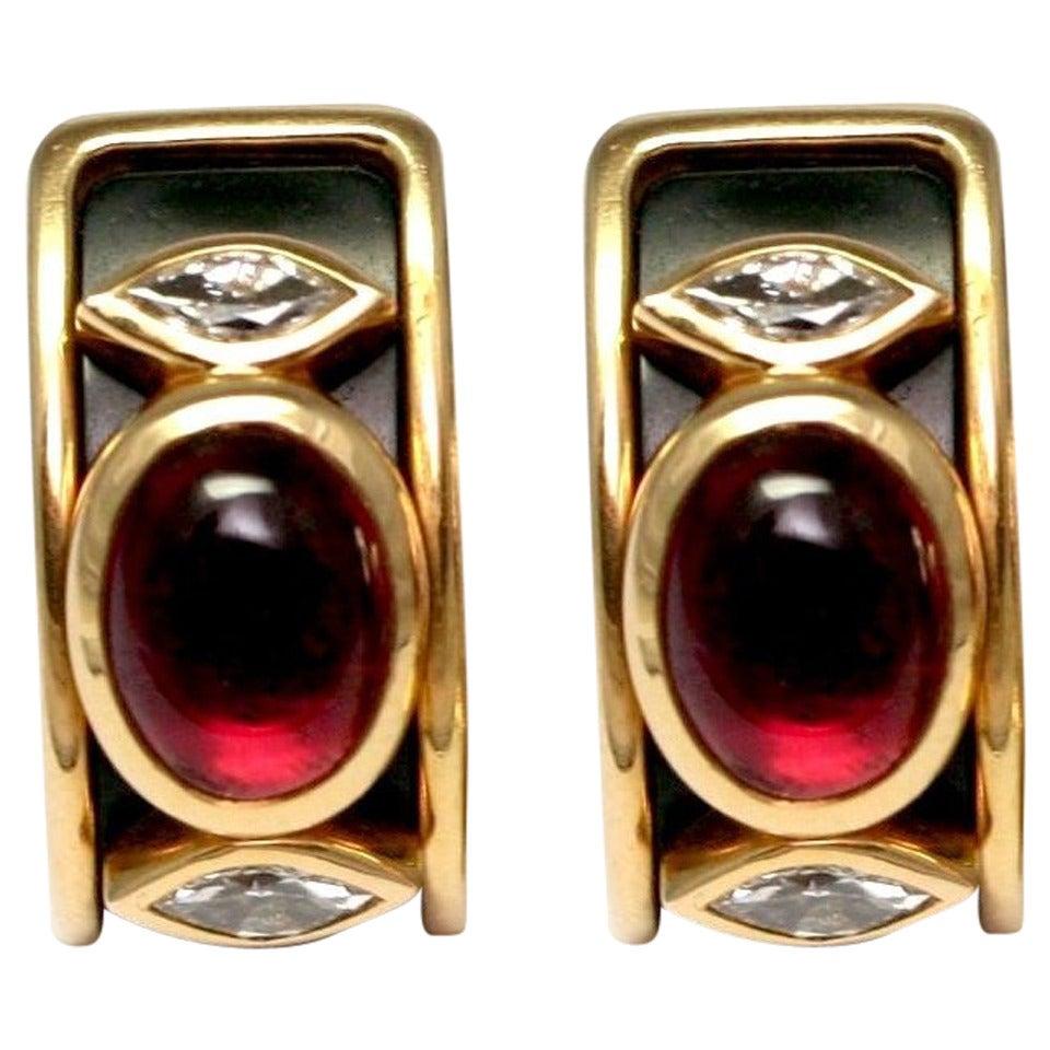 Marina B. Tourmaline Onyx Gold Ear Clips