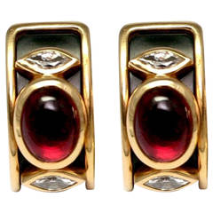 Marina B. Tourmaline Onyx Gold Ear Clips