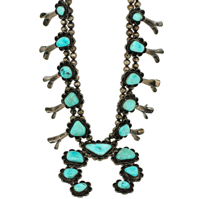 Navajo Turquoise Silver Necklace, Belonged to Andy Warhol For Sale