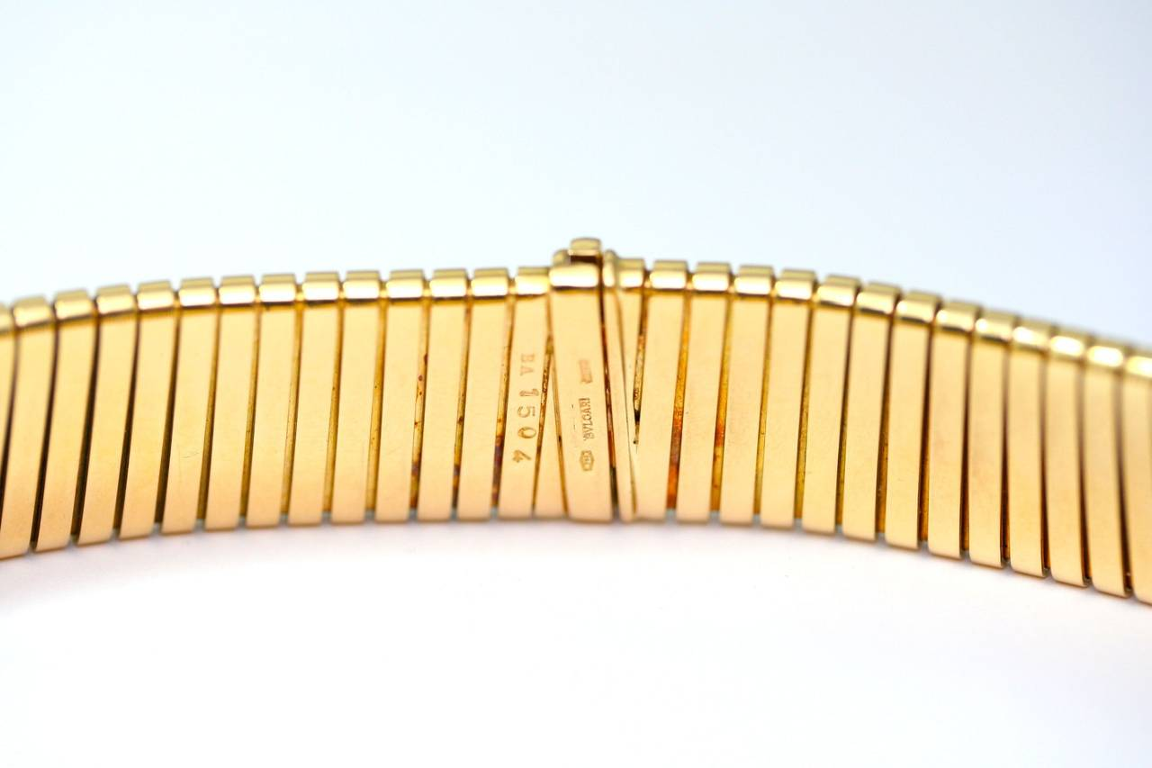 1984 Bulgari Diamond Gold Tubogas Choker Necklace 3