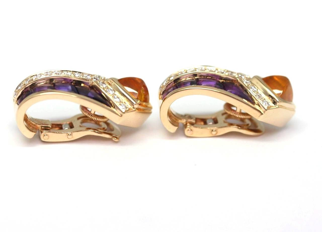 Fred Amethyst Citrine Diamond Gold Earclips In Excellent Condition For Sale In Monte Carlo, MC