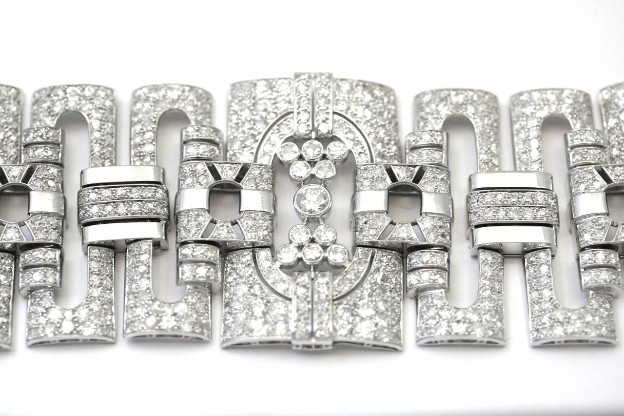 Women's 1930s Diamond Platinum Cuff Bracelet For Sale