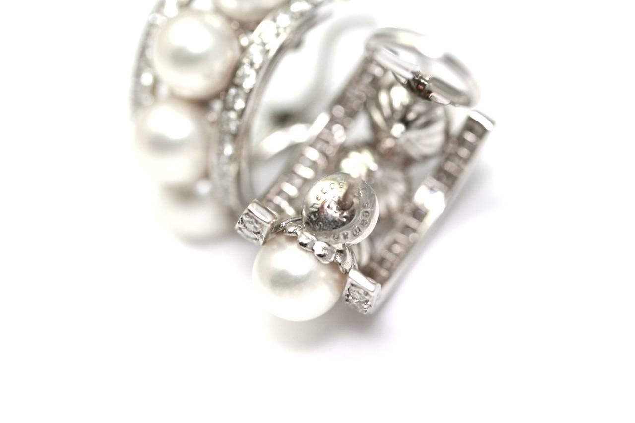 Seaman Schepps Crystal Pearl Diamond Gold Bracelet Earclips In Excellent Condition For Sale In Monte Carlo, MC