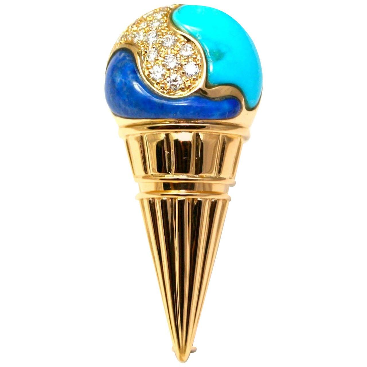 Bulgari Turquoise Lapis Lazuli Diamond Gold Ice Cream Cone Brooch 1986  For Sale