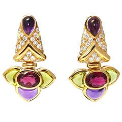 Bulgari Cabochon Tourmaline Amethyst Peridot Diamond Gold Drop Earrings
