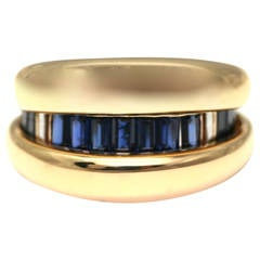 Poiray Sapphire Gold Day and Night Cocktail Ring