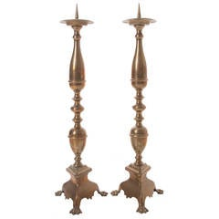 European Pair of 19th Century Brass Candlesticks with Paw Feet