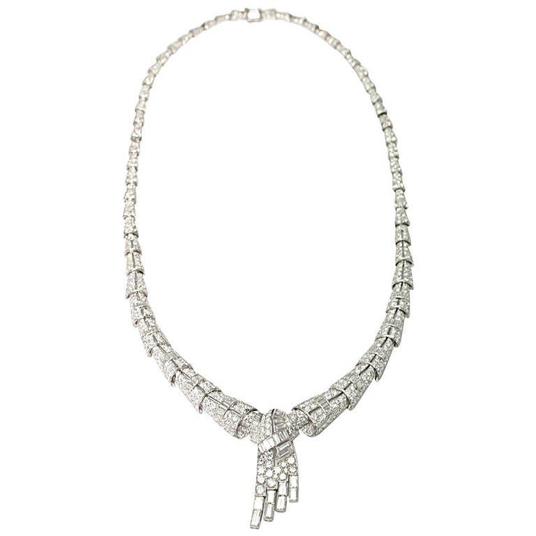 1930 Diamond Platinum Necklace