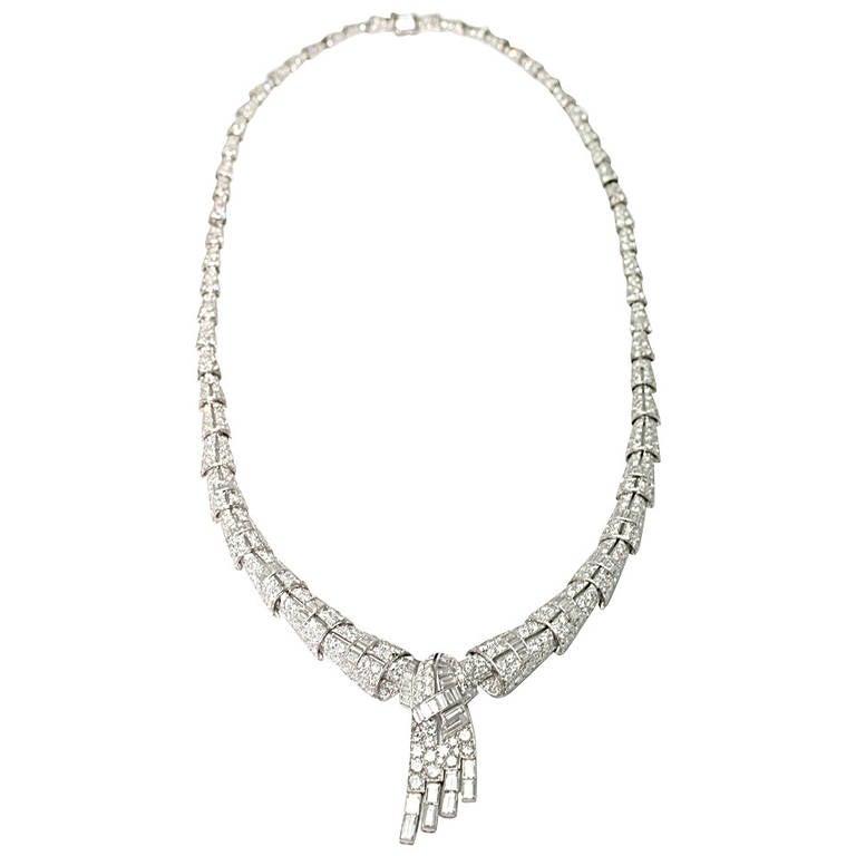 1930 Diamond Platinum Necklace